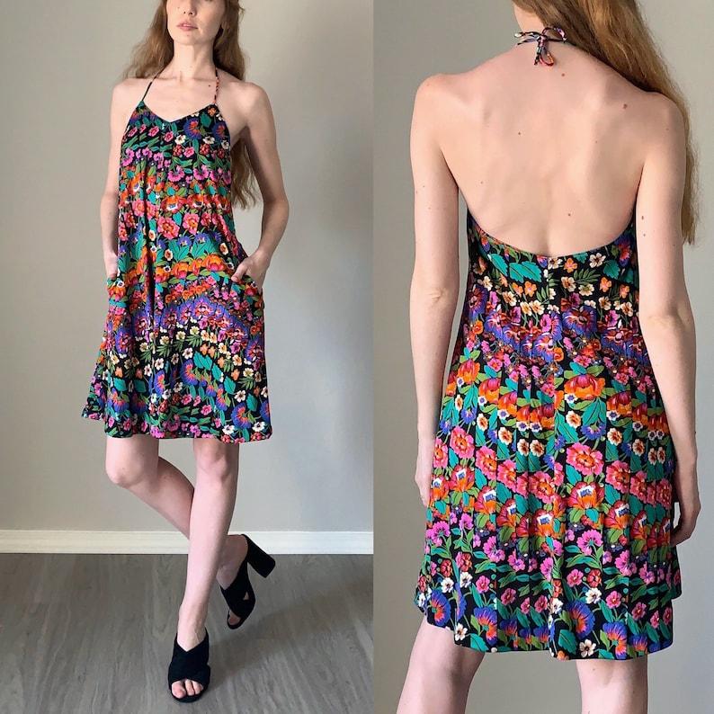 Vintage 1970s Dress  Floral Print Halter Top 70s Dress  Trippy Psychedelic Pattern 70s Trapeze Dress  Size XS