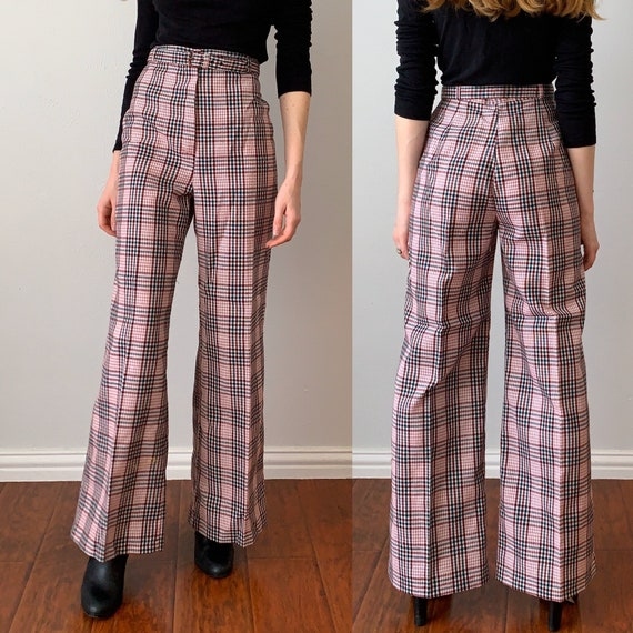 Vintage 1970s Pants / High Waist Flared Leg Plaid