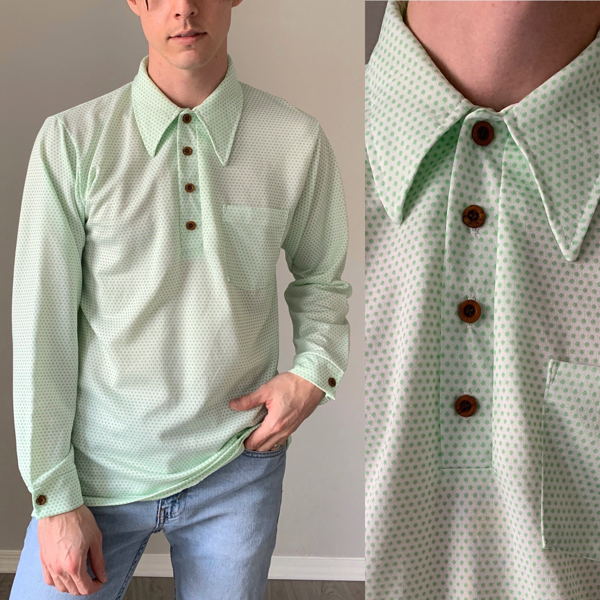 1970s Mens Shirt Styles – Vintage 70s Shirts for Guys Vintage 1970S ShirtHenley Button Polka Dot Long Sleeve 70S Mens Pointed Collar Mod Polo Size Medium Large $0.00 AT vintagedancer.com