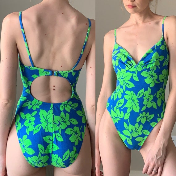 Vintage 80/'s Floral Satin Leotard with Sea-Green Body and Lace Panel Size Small