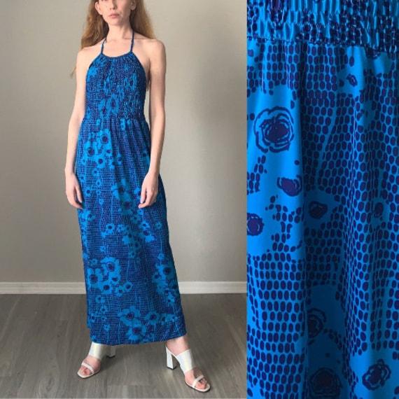 Vintage 1970s Dress / Halter Top Psychedelic Flora