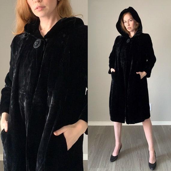 Vintage 1950s Coat / Black Velvet Hooded 50s Swing