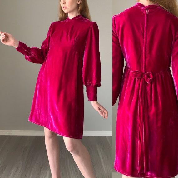 Vintage 1970s Dress / Velvet Bishop Sleeve 70s Dre