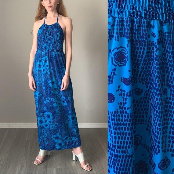 Vintage 1960s Dress / Novelty Print Ruched Halter