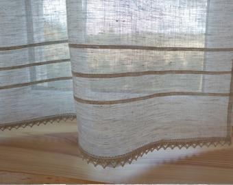 Linen curtain panel, grey curtain panel with lace, kitchen curtain, bathroom curtain, decorative curtain, cafe curtain