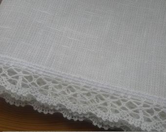 Linen curtain panel, valance, custom size, white curtain panel with lace, kitchen curtain, bathroom curtain, cafe curtain