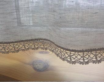 Linen curtain panel, valance, custom size, grey curtain panel with lace, kitchen curtain, bathroom curtain, cafe curtain