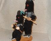 Signed TOM Double Removable Mask WOLF Kachina Katsina HOPI Doll Vintage Native Free Shipping