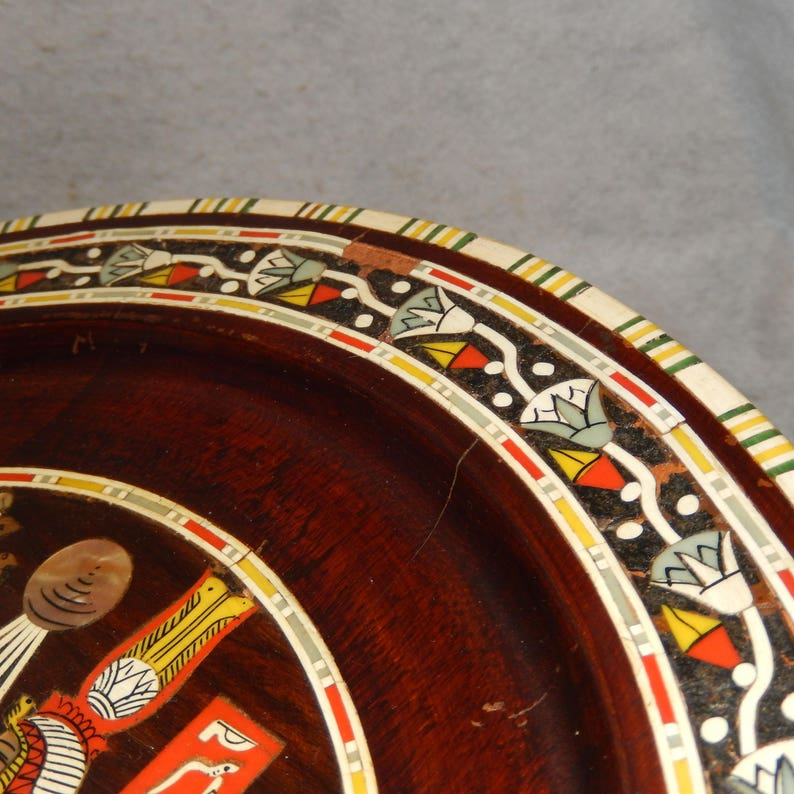 LARGE Antique Egyptian Wood Inlay Inlaid MOP Bone Egypt HIEROGLYPHICS Wall Plate  Free Shipping!