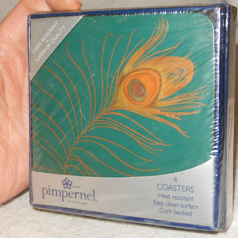 PIMPERNEL Cork Coasters Brand 4 Golden PLUME 8092 MIB Sealed Peacock Feather ~ Free Shipping!