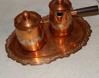3 Pc Set VICTORIA TAXCO Copper Sterling Silver Sugar Creamer Tray Coffee Mexico~   Free Shipping!