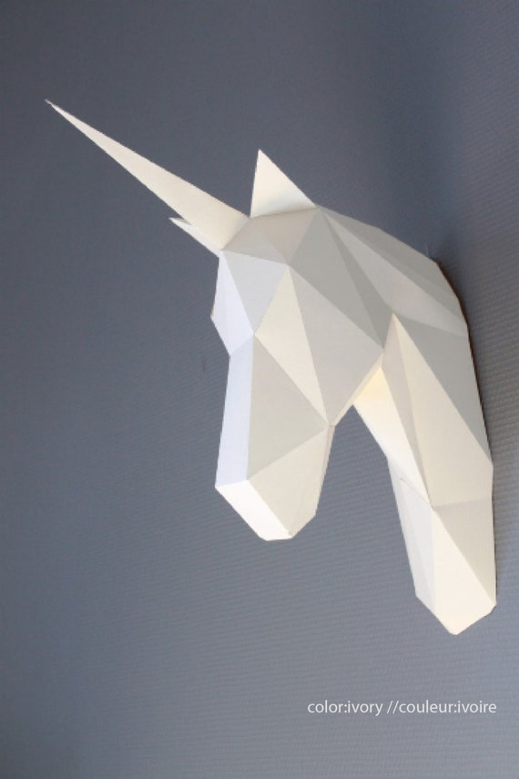 Papercraft unicorn head trophy faux taxidermy diy kit animal solutioingenieria Choice Image
