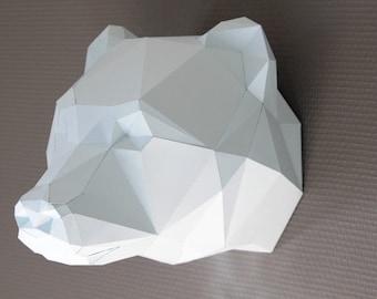 Paper trophy, faux taxidermy Bear, polar bear Paper DIY kit.