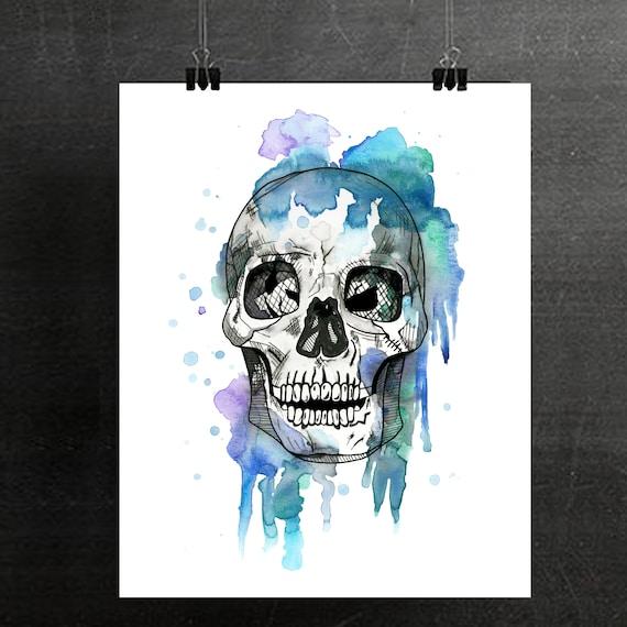 Skull Watercolor Painting Skull Art Skull Print Skeleton Etsy