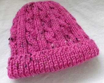 Toddlers Cabled Beanie Hat in Pink