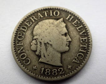 Swiss Confoederatio Helvetica 1882 Five Rappen Coin