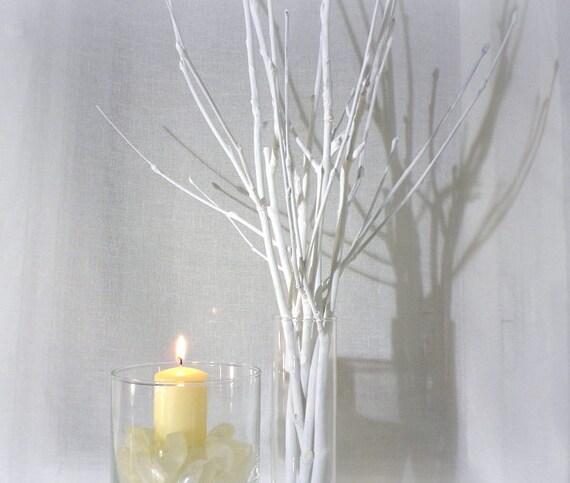 Weißen Zweigen Bemalt Äste Moderne Weihnachten Herzstück   Etsy