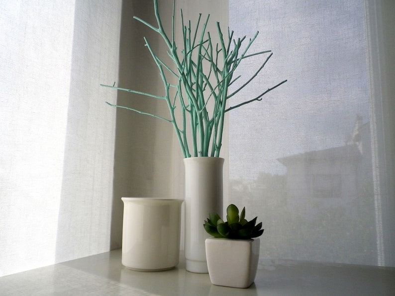 Light Mint Painted Natural Tree Branches Vase Filler Modern Etsy