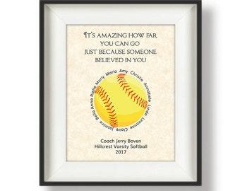 Softball Coach Gifts - Personalized - Coach Gifts - Softball Coach Gift Ideas - Gifts for Softball Coaches - 8 x 10 - It's Amazing