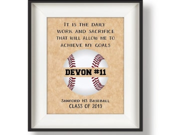 Baseball Senior Night Gift - Baseball Senior Gift - Baseball Player Gift - Personalized Baseball Gifts - Monogram Ball - Daily Work Quote