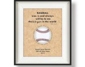 851a2515bd8 Baseball Coach Gift Ideas - Custom - Baseball Coach - Personalized Coaches  Gifts - Coach Appreciation Gifts - 8 x 10 - Baseball Quote Print