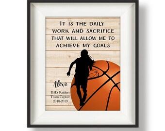Basketball Senior Night Gifts - Basketball Player Gift - Basketball Senior Gifts - Personalized Basketball Poster- Athlete Gift - Daily Work