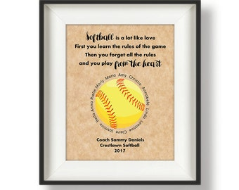 Gifts for Softball Coaches - Personalized - Softball Coaches - Gift for Coach - Coach Appreciation Gifts - 8 x 10 - Softball Quote