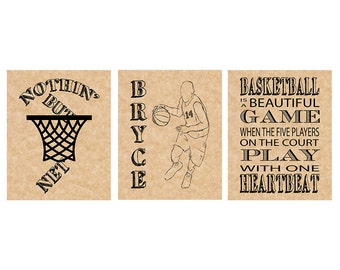 Basketball Team Captain Gifts - Boys Basketball Gifts - Graduation GIfts for Him - Sports Room Decor - Boys Room Decor - Set of 3