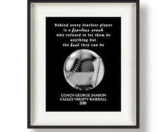 Baseball Coach Gift Ideas - Baseball Coach Signs - Baseball Gifts for Coach - Personalized Baseball Coach Gift - Silver - Fearless Coach