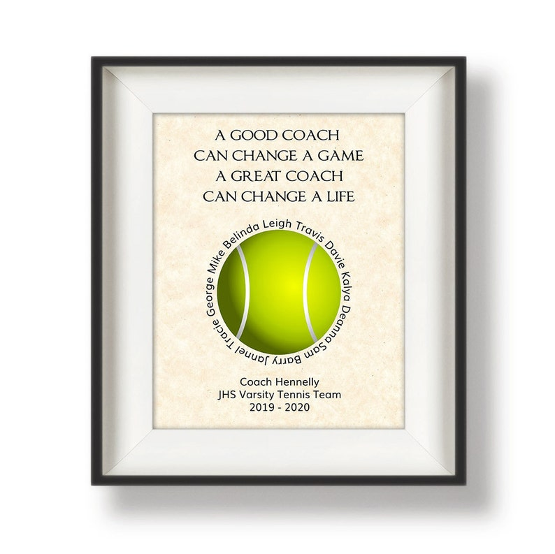 Gift for Tennis Coach  Tennis Gifts Coach  Personalized image 0