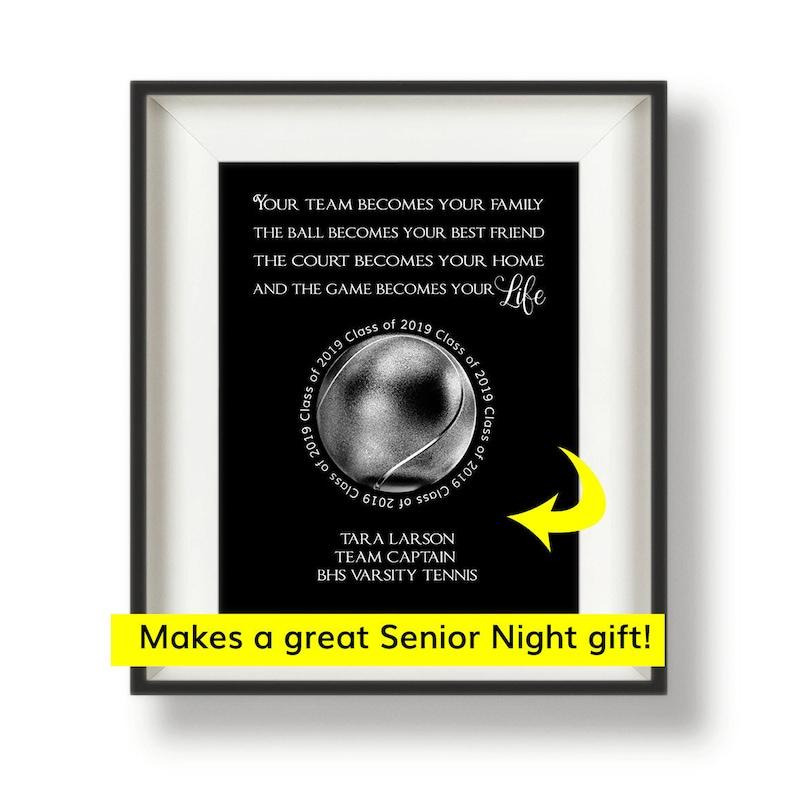 Tennis Senior Night Gift  Tennis Coach Gifts  Tennis Team image 0
