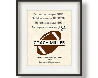 Gifts for Football Coaches, Football Coaches Gifts, Football Coach Gift Ideas, Personalized Football Coach Gifts - 8 x 10 - Mono TBF