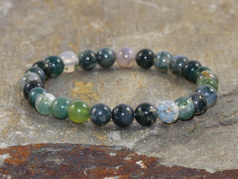 Green MOSS AGATE Bracelet 8mm AAA Grade Natural Stone Healing Crystal Reiki Yoga
