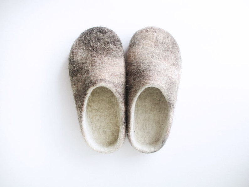 96e47d60ee17 Women or Men felted wool slippers in beige and brown colour