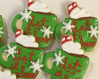 Let It Snow Mug Hot Chocolate Cookies | Winter Hot Cocoa Cookies