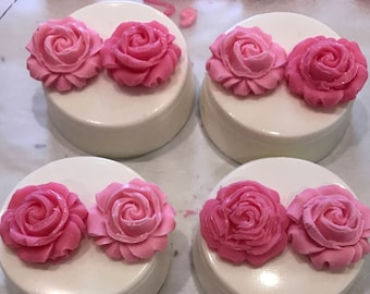 White Chocolate Covered Oreos with Pink Edible Rose