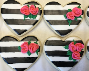 Black and White Striped Heart Cookie with Pink Roses