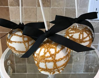 White Chocolate Covered Apples with Gold Sprinkles