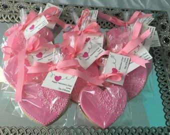 Pink Vintage Lace Heart Sugar Cookies