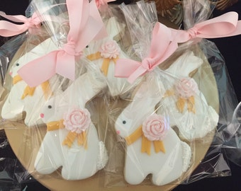 Bunny Cookies with Edible Pink Bow | Easter Cookies