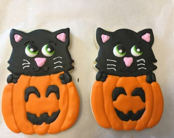 Black Cat Pumpkin Halloween Jumbo Cookies