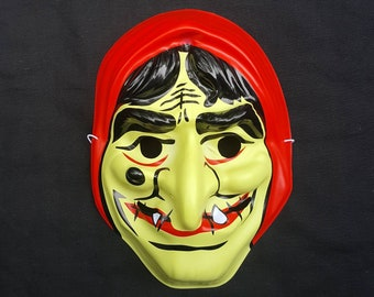 bccc2330022 Vintage Plastic Creepy Snot Witch Woman Crooked Teeth Mask