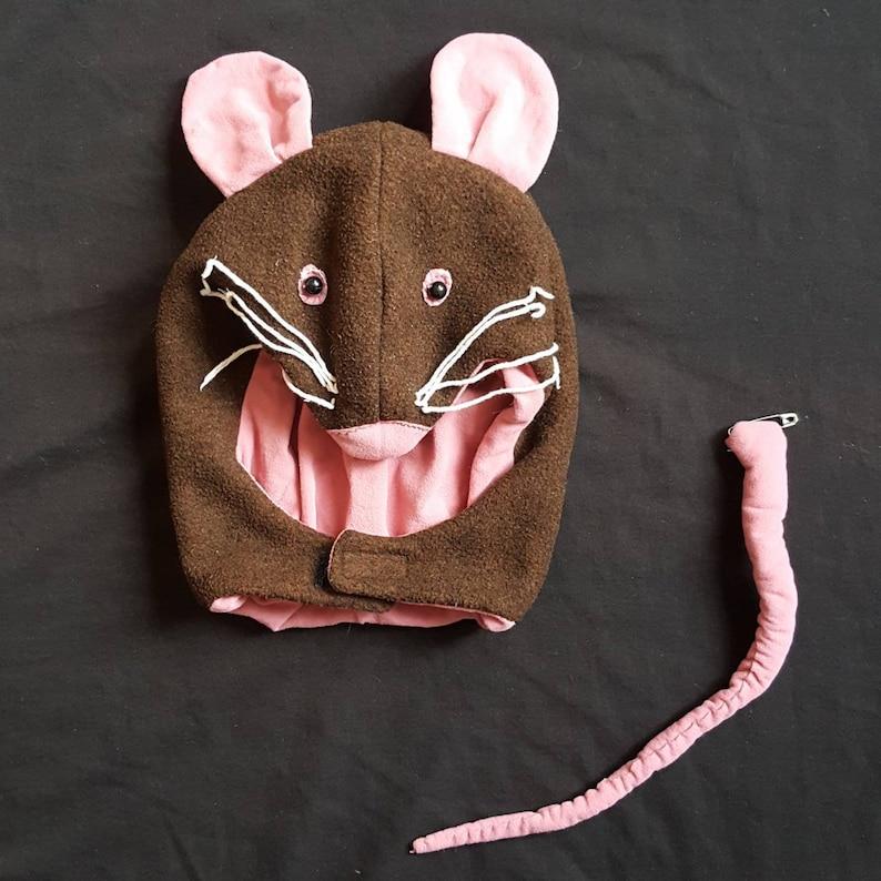 Vintage Handmade Childrens Brown Pink Mouse Mask Hood /& Tail