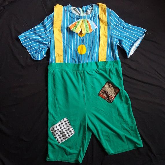 Vintage 1980s Handmade Adult Clown Jumpsuit Romper