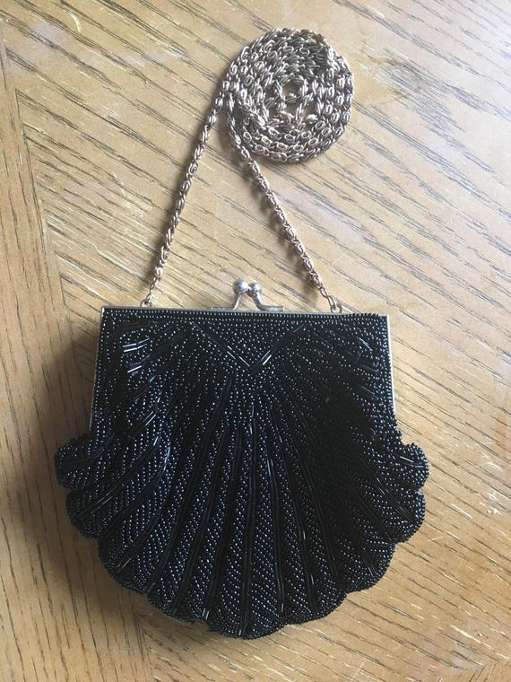 Black wedding purse with beads, shell shaped purse