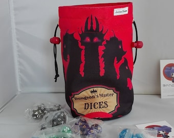 """D & D"" thematic bag with dice game"