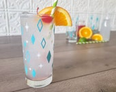 Aqua Diner Diamonds MCM Mid Century Modern Vintage Inspired Collins Drinking Glasses Hand Printed in Ohio USA