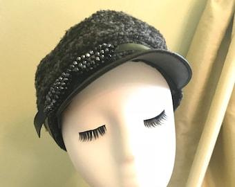 Black Tweed Newsboy Hat