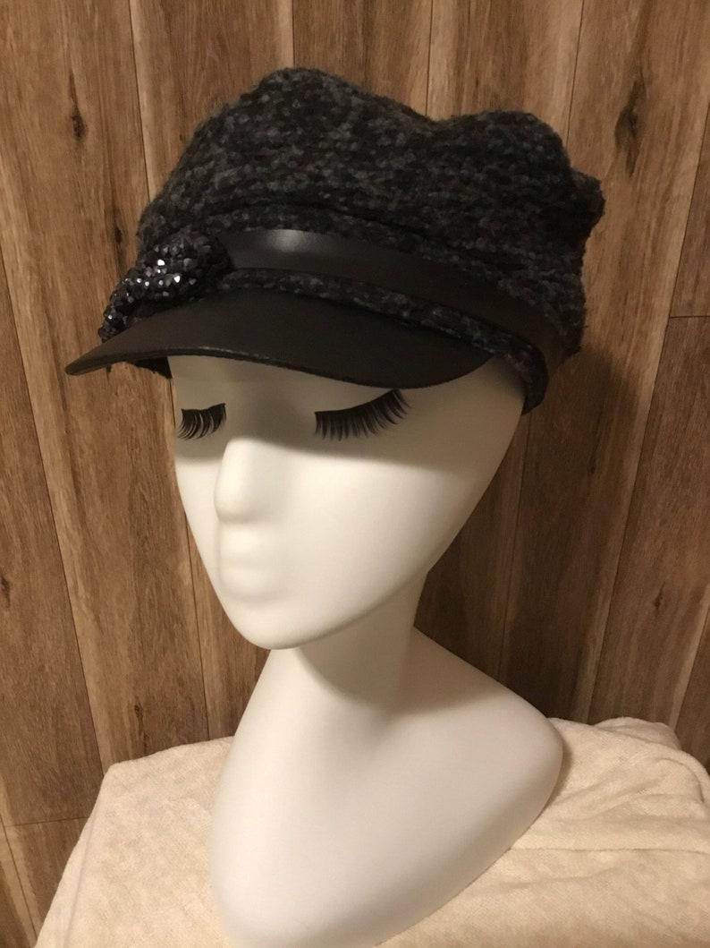 f6728c03 Black Tweed Newsboy Hat | Etsy