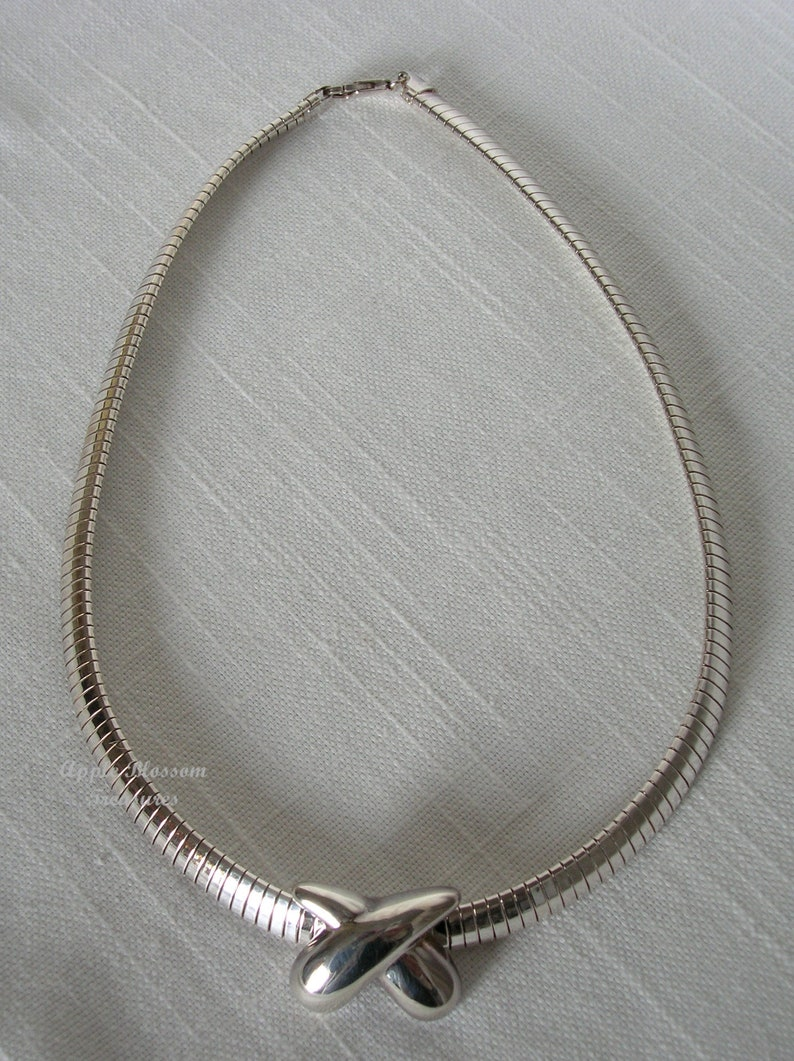 Vintage Modern .925 Sterling Silver Choker Necklace with Kiss Slide Pendant ~ Estate Jewelry